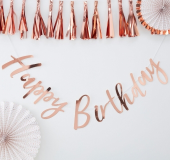 Banner rose gold Happy Birthday