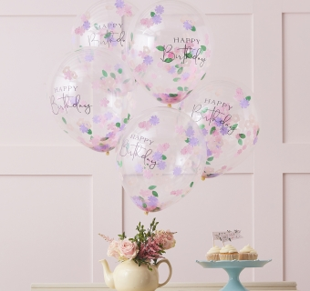Baloane Floral Confetti Happy Birthday