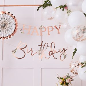 banner rose gold floral Happy Birthday