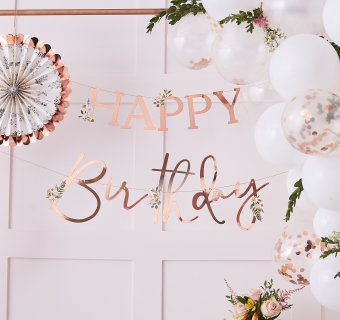 Banner floral Happy Birthday